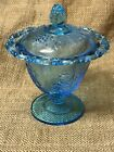 Indiana Colony Vintage Blue Harvest Candy Dish Covered Lace Edge Pedestal Grapes