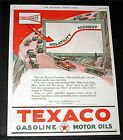 1924 OLD MAGAZINE PRINT AD, TEXACO GASOLINE & MOTOR OILS FOR MAXIMUM POWER, ART!