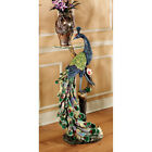 Life Size Peacock Perched on a Branch Vibrant Colors Glass Topped Table