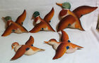 Hand Painted Wood Duck Figural Wall Art Set of 6