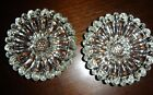 Vintage Pair of Clear Glass Sunflower/ DaisyTaper Candlestick Holders