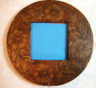 Antique Victorian Tramp Folk Pyrography Art Etched Carved Wooden Picture Frame