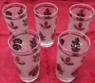 Vintage 1940-50's Frosted Silver Libbey High Ball Glasses (5-five)