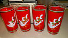 4 Vintage Highball Hi-ball Glasses Culver Christmas Holly Goose Geese In Box