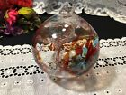 Red Mottled Art Glass Witch Ball Ornament 5 1 2