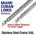 Stainless Steel 316L Miami Cuban Curb Link Chain Necklace 14 48 Silver tone