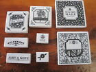 LOT OF 8 White foam back RUBBER STAMPS tag making Hand made Made with Love+