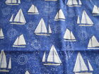 1 Yard Timeless Treasures Sports Sailboat Quilt Cotton Fabric