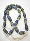 Beads Old Blue White Yellow Opaque Feather Mixed Beads 30mm