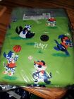 Dog Sports on Green Cotton Fabric Flannel 2 yds x 44