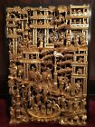BIG ANTIQUE CHINESE GILT WOOD CARVED PANEL VILLAGE LIFE SCENES WOODEN CARVING #1