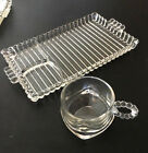 Hazel Atlas Orchard Snack set Candlewick/Boopie Ribbed Clear Glass Tray W/cup