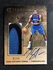 2015-16 Panini Luxe Karl-Anthony Towns Rookie Auto Jumbo Jersey Patch 01 25 READ