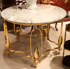 Superb Gilded Brass French Art Deco Marble Top Round Center Occasional Table