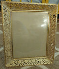 Vintage Filigree Ornate Floral Gold/White Metal Free Stand Picture Frame 8x10
