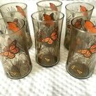 Libbey Drinking Glasses Butterfly Wheat Pattern 6 PC Set Libby Amber Brown Vtg