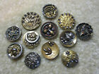 GREAT LOT SMALL ANTIQUE/ VICTORIAN METAL LEAF THEME/ CUTSTEEL BUTTONS