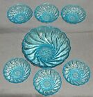 MID CENTURY Hazel Atlas CAPRI SEASHELL PATTERN Dessert/Fruit Bowl 7 pc Set
