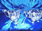 VINTAGE FOOTED ETCHED GLASS CREAM PITCHER AND SUGAR BOWL (4C79)