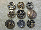 GREAT LOT SMALL ANTIQUE/ VICTORIAN METAL BIRD PICTURE BUTTONS / PERFUME+