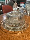 Jeannette Glass Co ANNIVERSARY Crystal Butter Dish Lid Mid-Century Glassware