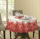 Red and White Pink Printed Flowers 60 Round Tablecloth water resistant Fabric