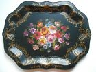 Nashco Toleware Large Black Hand Painted Metal Serving Tray with Flowers
