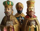 Vintage Jeweled Nativity Three Kings 11 Wisemen Figures Gold Magi Original Box