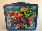 SPIDER MAN and hulk CAPTAIN AMERICA Vintage 1980 metal lunchbox lunch box