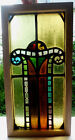 Antique Vtg Church Stained Glass Window Architectural Salvage Colorful Scroll B