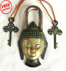 BRASS FINE HEAVY HANDCRAFTED LORD BUDDHA ENGRAVED UNIQUE SHAPE 2 KEY PADLOCK
