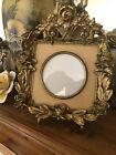Antique Brass Metal Ormolu Rose Border Picture Frame 6.5 X 7.5