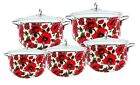 10 Pieces Enamel Cookware Pot Set With Glass Lid Red Floral