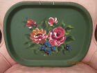 Vintage Hand Painted TOLE TRAY ~MULTI-COLOR PINK FLOWERS ~ 16 1/2