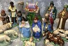 Vintage 50s Holland Mold Ceramic NATIVITY Set Of 16 Manger 24k Gold Paint Estate