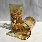 Vintage Libbey Fall Leaves 12oz Drinking Glass Tumblers Hand Blown Set(2)