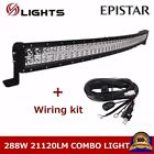 50INCH 288W Curved LED Work Light Bar Combo Offroad Boat 4WD Ford 52+Wiring kit
