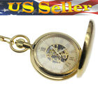 Mens Mechanical Pocket Watch Hand-winding Gold Case Full Hunter Chain Love Gifts