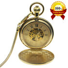 Mens Quality Pocket Watch Mechanical Gold Case Full Hunter Hand-winding Chain US