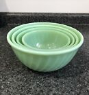 SET-4) FIRE KING Jadite SWIRL Nesting MIXING BOWLS  ~6, 7, 8, 9 Inch Excnt Cond