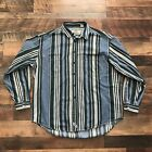 Vintage Levis Jeans Shirt Mens XL Long Sleeve 80s 90s Striped Button Down Blue
