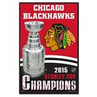 CHICAGO BLACKHAWKS 2015 STANLEY CUP CHAMPS WITH BEVEL WOOD SIGN 11