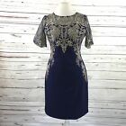 Vicky And Lucas Blue/Gold Lace Embroidered Sheath Dress Size Large NWT