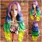 Long Body Wavy Lace Front Wig, Ombre Rainbow Wig, Pastel Wig, Unicorn Haircolor,
