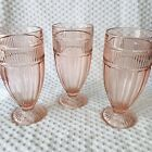 Anchor Hocking Annapolis Pink Glass Footed Water Goblet 3 PC Lot Rosewater Heavy