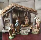 VINTAGE NATIVITY MADE IN ITALY CRECHE AND 9 FIGURES