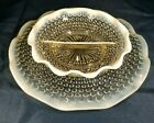 Vtg Anchor Hocking Divided Scalloped Clear Opalescent  Moonstone Bowl