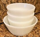 Anchor Hocking Fire King Opalescent Milk Glass 1 Soup Cereal and 3 Custard Bowls