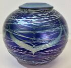 Fine Early Correia Art Glass Low Vase Pulled Feathers Applied Canes 1980