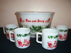 Tom Jerry Punch Bowl 4 Cups White Glass Hazal Atlas Christmas Auld Lang Syne